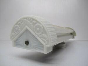 Vtg Art Deco Fluorescent Light Fixture 2 Bulb White Milk Glass End Caps As Is