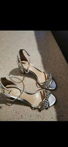 Badgley Mischka Shoes, Silver Block Heel Size 7 UK