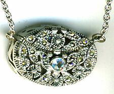 "925 Sterling Silver Blue Topaz & Marcasite Prayer Box Locket Pendant  26"" chain"