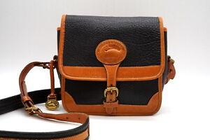 DOONEY & BOURKE Vintage Mini Shoulder Bag Square Box Leather Brown Black 3948h
