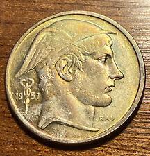 Belgique 50 francs 1951 fl , argent , patine arc en ciel , sup
