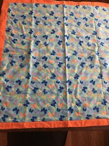 "Handmade Flannel Baby Blanket Butterfly Design Self Binding 35"" Square"