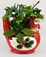 Vintage porcelain Christmas  bird planter with holly Mid-Century Japan