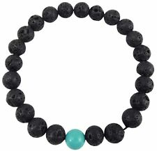 Volcanic Natural Lava and One Turquoise Yoga Healing Wrist Mala Bracelet CL-2