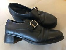 Clarks Black Leather Mary Janes Springers Shoes size 7.5 / 41.5 Goth Emo