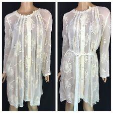 Ann Demeulemeester Sheer Cotton/Silk Khan Dress NWT $1430 New Sz 38/4 Embroidery