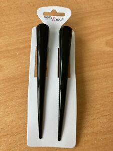 Pack 2 black concorde hair clips metal 13cm enamel lightweight slides grips