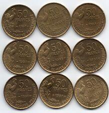 LOT DE 8 Pièces de 50 francs GUIRAUD 1951 de qualité