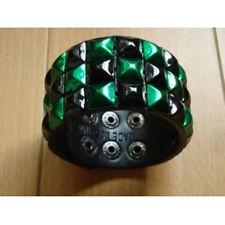 Green/Black Shinning Checkered Studded BlackLeather Bracelet
