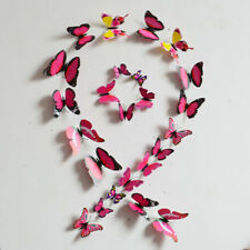 Pretty DIY 3D Butterfly Wall Sticker Decal Home Decor Room Decoration Rose Red