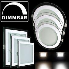 6/12/18W LED Panel Leuchte Glas Einbaustrahler Dimmbar Deckenleuchte Eckig Rund
