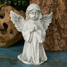 Engel Murjel Resin Garten grau Beetstecker Skulptur Deko Figur Engel Pute