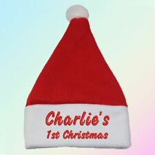 """Name"" 1st Christmas Embroidered Baby Santa Hat Gift Personalised Boy Girl"