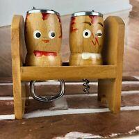 Vintage Salt and Pepper Shakers Piedmont MO corkscrew bottle beer opener wooden