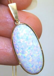 9CT OPAL PENDANT Large  CABOCHON 9 CARAT YELLOW GOLD  Great gift