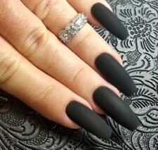 20 BLACK VELVET Matte Rubbery GEL Polish LONG Coffin Press On Nails Fake False