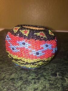 Beautiful Vintage Small Hand Beaded- Hand Woven Basket