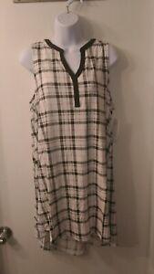NEW Jockey Women's Sleepwear Ivory Plaid Chemise Size Large Sleepshirt NWT