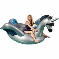 GAME Giant Inflatable Ride-On Mystique Alicorn Unicorn Pool Float w/ Cup Holders