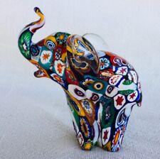 Art Glass Elephant Figurine Hand Blown Millefiori Murano Animal