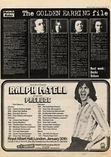 Golden Earring File Ralph Mctell Prelude Tour Advert MM4 1974