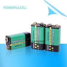4Pcs Powfulcell Heavy-Duty Single Time Use 9V 6F22 Block Battery