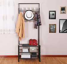 Hall Tree Entryway Coat Stand Shoe Rack Shelves Hooks Metal Space Saver Black