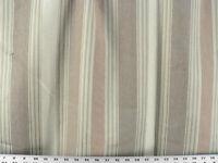 Drapery Upholstery Fabric 100% Cotton Woven Stripe -  Sage / Cream / Brown