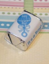 60 Baby Shower It's a Boy Blue Rattle Hershey Candy Nugget Wrappers Stickers
