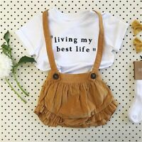 US 2Pcs Infant Toddler Baby Girl Bib Strap Clothes Shirt Tops Shorts Outfits