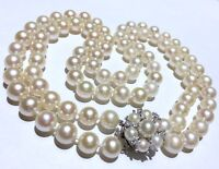 ! 8.2-8.8mm BIG saltwater Akoya pearl diamonds clasp double strand 14k NECKLACE