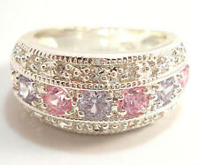 Elegant Woman Round Cut Pink & Blue Sapphire 925 Silver Ring Size 8