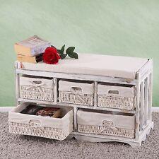 Panca cassettiera con 5 ceste multiuso legno di paulonia bianca vintage