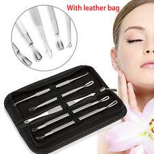 5pcs Blackhead Extractor Remover Pimple Blemish Comedone Acne Clip &Leather Case