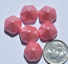 (6) Czech 2-hole Pyramid Hexagon Beads - Pastel Matte Light Coral Pink CPH2262