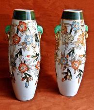 PAIRE VASES fleurs 25cm style Kyoto Satsuma Japonais Chinois asiatique vintage