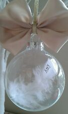 Christmas wedding gift present personalised feather Glass bauble nordic favours