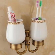 Bathroom Toothbrush Holder Shelf Ceramic Cups Tumbler Storage Wall Mount Hanger