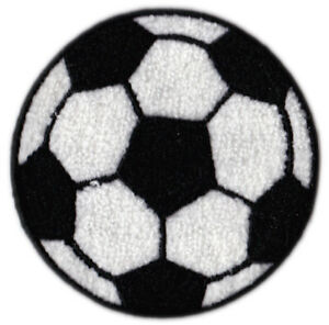 """SOCCER BALL 4"""" ROUND CHENILLE EMBROIDERED PATCH APPLIQUE SEW ON STYLE"""