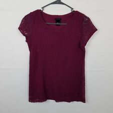 Ann Taylor Burgundy Lace Short Sleeve Top Shirt Blouse Size XS