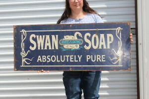 """Large Vintage Swan Floating White Soap Absolutely Pure Gas Oil 40"""" Metal Sign"""