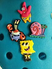 4 SPONGEBOB SQUAREPANTS & FRIENDS Scarpa CHARMS PER Crocs & Jibbitz GEMELLI.