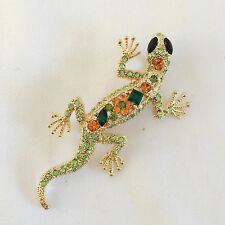 New Green Gold Lizard Gecko Iguana Crystal Brooch Pin Pendant Charm Br1227 Gift