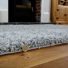 Modern Extra X Large Rug - Thick 5cm Pile Silver Grey Shaggy 200x290cm Area Rugs