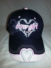 COWGIRL BABE Hat Embroidered Horseshoe Heart Womens Girls Cap Pink BLACK NWOT