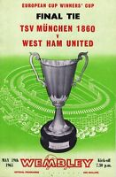 Football Programme Cover Reprints Munchen v West Ham Cup Winners Cup Final 1965
