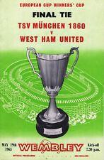 Football Programme Cover Reprints Munchen v West Ham Cup Winners Cup Final 1965