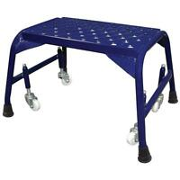 Blue Steel Rolling 1 ft x 16 in. x 10 in. Step Ladder with 300 lb. Load Capacity