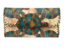 Women's Wallet Colorful Turtle Bohemian Style Clutch Pocketbook, hand stitched