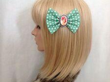 Ariel the little mermaid hair bow clip rockabilly pin up girl disney green polka